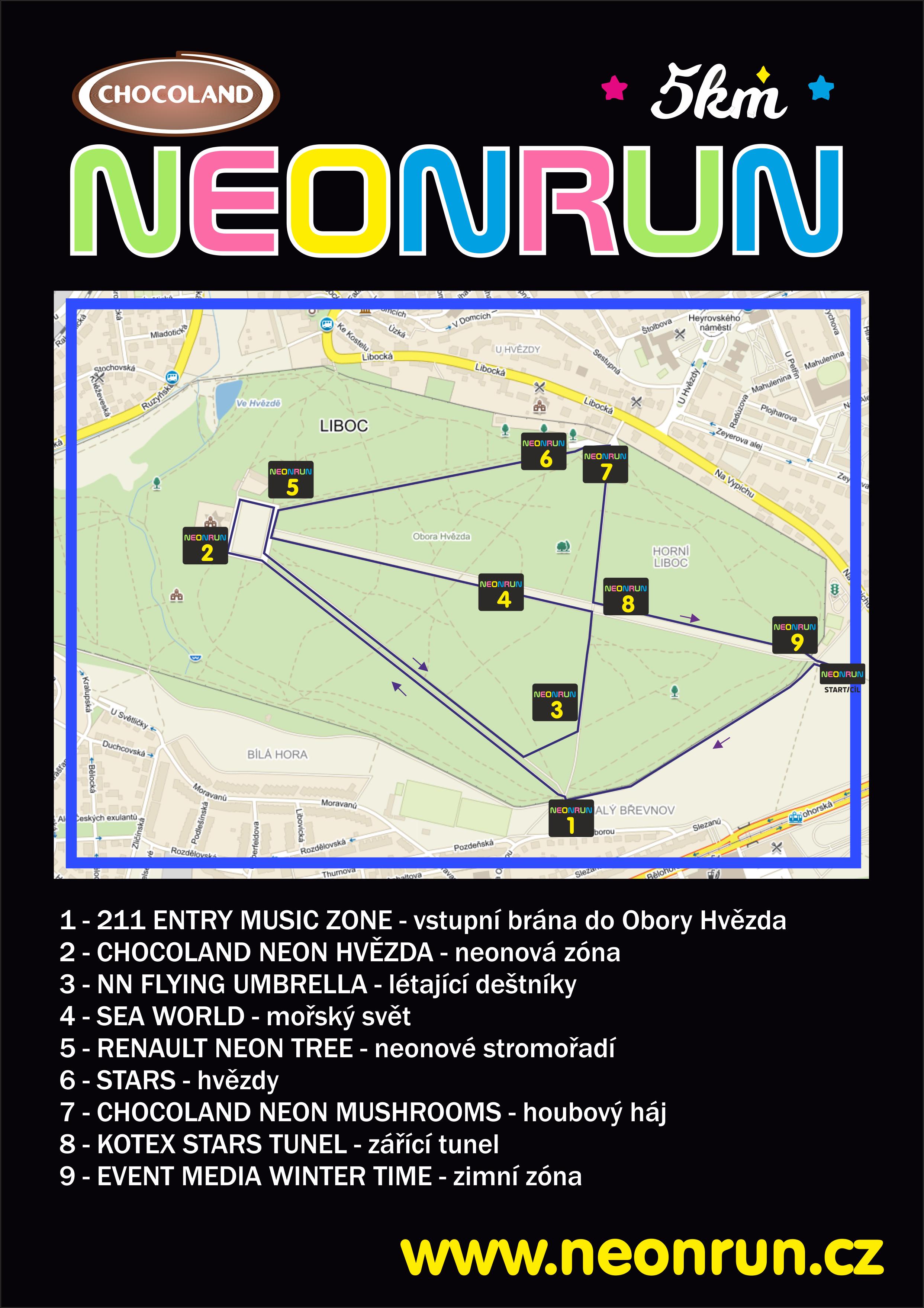 mapa Neon run 2021